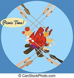 Picnic poster with human hands around campfire