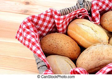 picnic, rustico, cesto, fresco, in crosta, bread