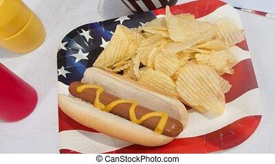 Picnic setting of hotdog with potato chips