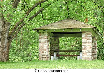 Picnic Shelter - Picnic shelter in a park in the summer...