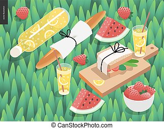 Picnic snack on grass - Picnic snack and grass template -...