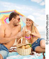 picnic, sol, chappy, ouple, playa, teniendo