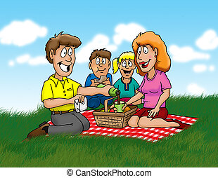 picnic - A family enjoying a picnic in the park