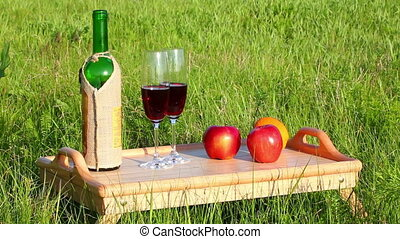 picnic - tabe with wine and fruits