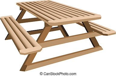 An illustration of a wooden picnic table.