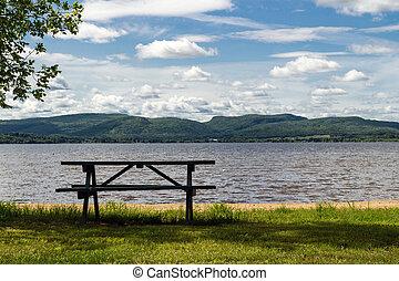 picnic table lake scene