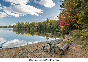 Picnic Table on a Beach in Autumn - Ontario, Canada
