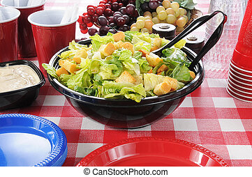 Picnic table set with a large salad