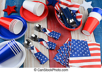 Picnic Table Setting Fourth of July - High angle photo of a...