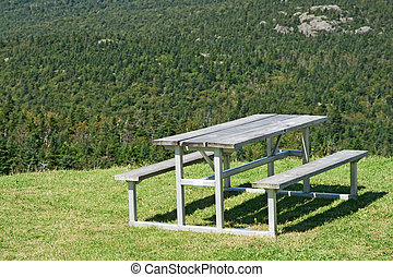 Picnic table with view over mountain forest
