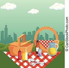 picnic, tempo, disegno