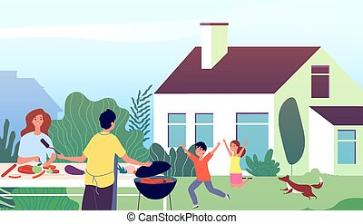 Picnic time. Garden bbq party. Family backyard barbecue cooking. Mother and father with happy children. Vector outdoor leisure illustration