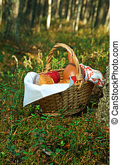 Picnic wicker basket with patty