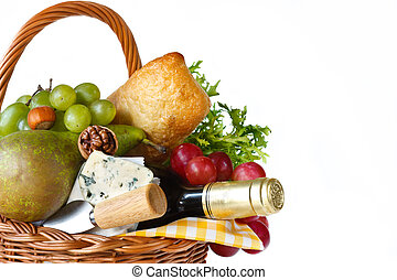Picnic. - Wine, ciabatta, cheese, herbs, grapes and pear in ...