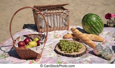 Picnic with different sorts of snacks on blanket