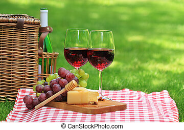 Picnic with red wine - Various sorts of cheese, grapes and...