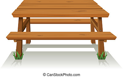 Picnic Wood table - Illustration of a cartoon wooden picnic...