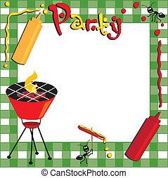 picnic, y, barbacoa, invitación