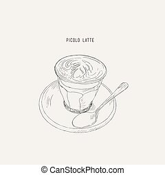 Picolo latte , hot coffee sketch vector.