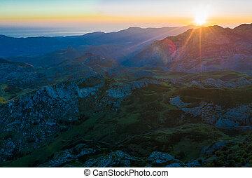 Picos de Europa at sunset, Spain