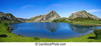 Picos de Europa Enol lake in Asturias Spain - Enol lake at...