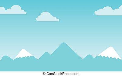 picos, montanha, fundo, neve-tampado