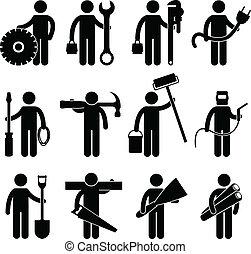 pictog, jobb, anläggningsarbetare, ikon