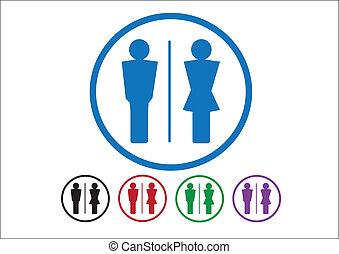 pictogram, человек, женщина, знак, icons, туалет, знак, или,...
