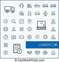 pictogram, グラフィック, セット, 線である, elements., サービス, アウトライン, アイコン, 分配, イラストビジネス, 出産, symbols., デザイン, 薄くなりなさい, 出荷, 線, ベクトル, エクスポート, 輸送, ロジスティックである
