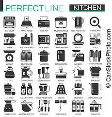 pictogram, ミニ, 概念, クラシック, set., 料理, 現代, symbols., ベクトル, 黒, イラスト, 台所, アイコン