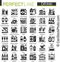 pictogram, ミニ, 概念, クラシック, set., 飲料, 現代, symbols., ベクトル, 黒, イラスト, 飲み物, 飲みなさい, アイコン