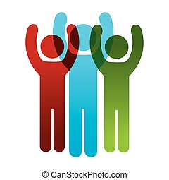pictogram, 人々, の上, 手