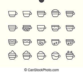 pictogram, 単純である, 24x24, stroke., 準備ができた, 完全, 網, 48x48, アイコン, apps, well-crafted, ピクセル, 最小である, コーヒー, 食物, editable, 格子, グラフィックス, 線, タイプ, ベクトル, ui, 薄くなりなさい