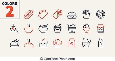 pictogram, 単純である, 24x24, stroke., 準備ができた, 完全, 網, 48x48, アイコン, apps, well-crafted, ピクセル, 最小である, 食物, 1-3, editable, 部分, 格子, グラフィックス, 線, ベクトル, ui, 薄くなりなさい
