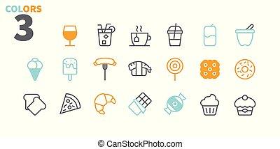 pictogram, 単純である, 24x24, stroke., 準備ができた, 完全, 網, 48x48, アイコン, apps, well-crafted, ピクセル, 最小である, 2-3, 食物, editable, 部分, 格子, グラフィックス, 線, ベクトル, ui, 薄くなりなさい