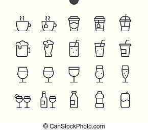 pictogram, 単純である, 24x24, stroke., 準備ができた, 飲み物, 完全, 網, 48x48, アイコン, apps, well-crafted, ピクセル, 最小である, 食物, editable, 格子, グラフィックス, 線, ベクトル, ui, 薄くなりなさい