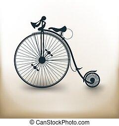 pictogram, 古い, 自転車
