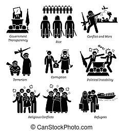 pictogram, 问题, icons., 社会, 世界, 问题