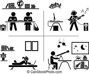pictogram, 아이콘, set., 아이들, 지출, 시간, 에서, 그들, room.