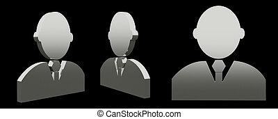 pictogram, 3d, man, vertolking, illustratie
