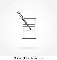 pictogram, aantekenboekje, en, pen