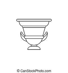 pictogram, amphora, stijl, oud, schets