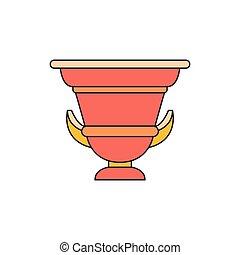 pictogram, amphora, stijl, oud, spotprent