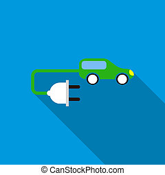 pictogram, auto, stijl, elektrisch, plat
