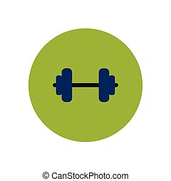 pictogram, barbell, kleur, sportende, modieus, cirkel