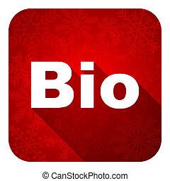 pictogram, bio, knoop, kerstmis, plat