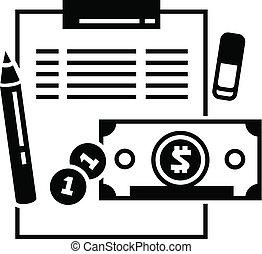 pictogram, boekhouding, stijl, financiën, eenvoudig