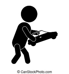 pictogram boy playing with toy car