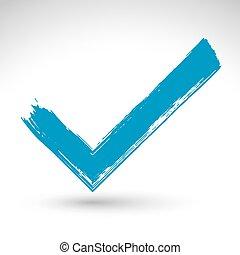pictogram, checkmark, tekening, vrijstaand, vectorized, hand, achtergrond., afgetaste, tick, borstel, getrokken, groen wit, bevestiging, navigatie, symbool, hand-geverfd