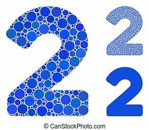 pictogram, cirkel, cijfer, punten, mozaïek, 2